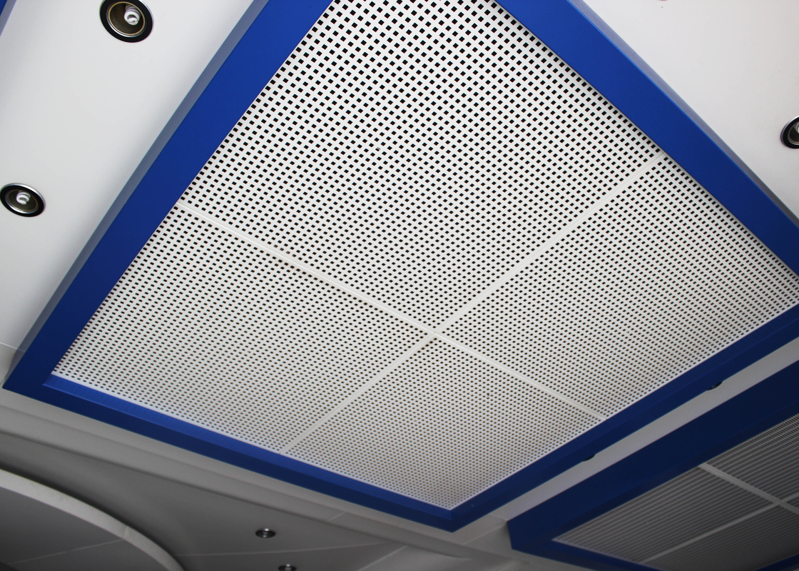 Perforated Metal Suspended Ceiling Tiles with Sound Insulation on Steel / Aluminum Sheet